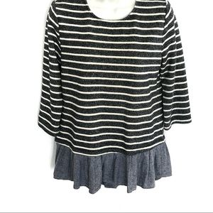 THML Blue White Striped Knit Peplum top S